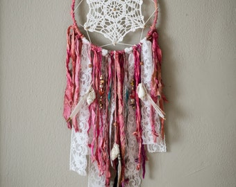 Large Dreamcatcher, Boho Decor, Shabby Chic Wall Hanging, Pink and White Dream Catcher