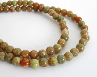 "4mm Autumn Jasper Beads, Round Beads, Jasper Gemstone Beads, Smooth Round Jasper Beads, Full Strand, 15"" Strand, Jas201"