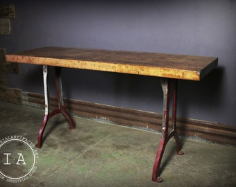 Vintage Industrial Cast Iron Machine Base Butcher Block Console Table