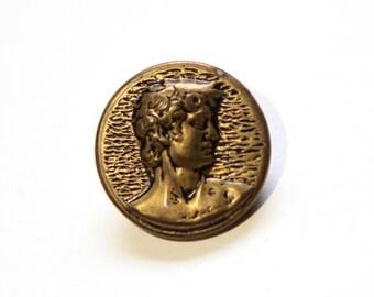 Supplies - Statue of David pictorial button, Michelangelo's David, David button, man head button, collector button, vintage button