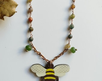 Bee necklace Wire wrapping necklace Honey bee necklace Bee jewelry Chanel inspired necklace Bee pendant Bee charm Bumble bee jewellery
