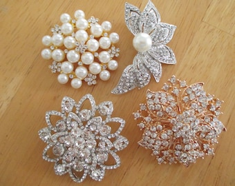 Vintage costume jewelry  / wedding bridal  brooch gifts 4 brooches