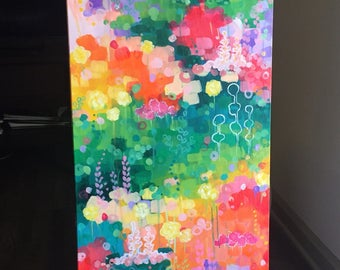 "Emerald Holiday, 40""x16"" Acrylic on Canvas, Abstract Landscape Painting, Original Art"