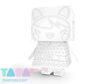 DIY Printable Doll to Paint, Blank Doll DIY Paper Toy Cutout Printable Doll, TaraDoll, Instant Download Robot, Educational Toy, Didactic Toy
