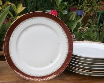 Antique French 9 dessert flat Limoges CHARLES AHRENFELDT Made in France - set of 9 Vintage de Limoges dessert plates