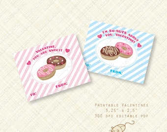 Donut Printable Valentine Cards or Labels. sweet doughnut valentines day card. editable text instant download pink blue stripes digital pdf