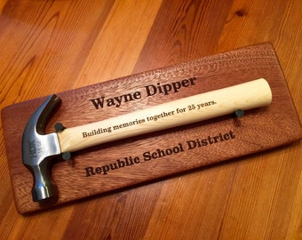 RETIREMENT HAMMER DISPLAY  And Plaque Laser Engraved Set.  Groom Gift.  Father of Bride and Father of Groom Gift Retirement Gift