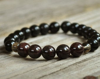 Men's Mala, Garnet, Obsidian, Smoky Quartz, Chakra Bracelet, Yoga Bracelet, Crystal Healing, Meditation Bracelet, Fertility Bracelet