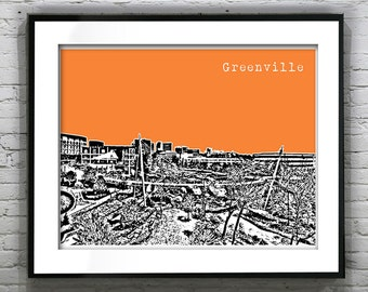 Greenville South Carolina Skyline Poster Art Print Version 1 Landscape