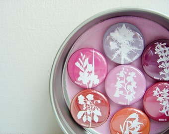 Fridge Magnets in a Tin - Set of Seven in Red, Pink, Purple. Floral Botanical Papercut Designs