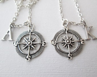 Best Friend Necklace, 2 Compass, Initial Necklaces/ friendship, friendship gift, friend necklace, friend, friend jewelry, friend gift