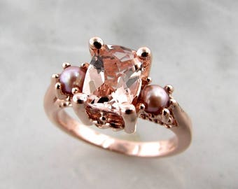 Morganite and Pink Pearl Rose Gold Ring, Old Paris Style