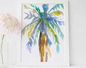 Palm Tree Print, Coastal Wall Art, Beach House Decor, Watercolor Palm Art, Watercolor Painting, Hawaii Decor, Tropical Art, Palm Tree Art