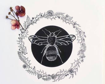 A4 Bumble Bee wreath Illustration Print