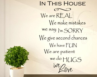 In This House Vinyl Lettering, In This House Rules, Vinyl House Rules, Family Rules Wall Decal, In This House We Are Real, Family Room Decor