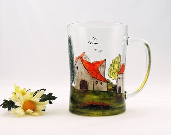 Hand painted mug - Village - House mug - Landscape - Glass mug - Village Provencal collection