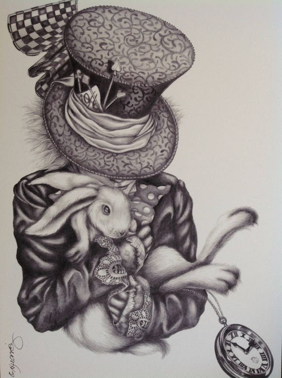 a4 print signed surreal alice in wonderland pencil drawing