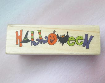 Halloween Wood Mounted Rubber Stamp Paper Craft Supplies
