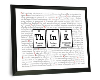 "Think Sign - Periodic Table Science Chemistry Wine Wood Sign with Built in Frame - 9""x12"" - Nerdy Gift - Geek Art"