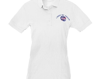 Ladies I NEED MY SPACE Nasa Meatball Embroidered Poly Jersey Polo Shirt - Multi Color/Sizes