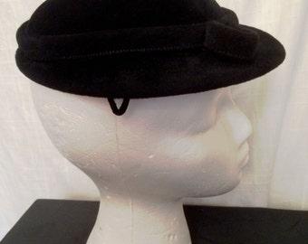 Vintage 1940s Gage Original High Style Black Velour Pancake Hat