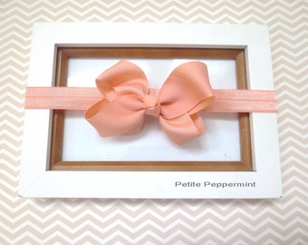 Peach Baby headband, baby girl headband - Baby Headband bow, Newborn headband, infant, toddler, girl hair bow, small bow head band