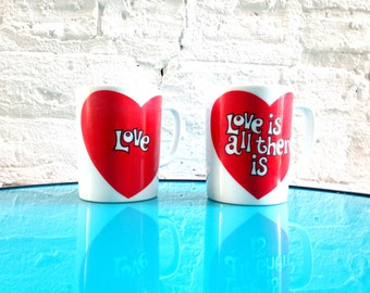 1970's Fitz and Floyd Love Coffee Mugs . Set Pair . Love is All There Is . 70's Retro Art . Valentine's Day Gift . Collector Ceramic