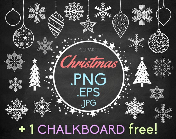 snowflakes clipart christmas 1 free chalkboard christmas rh etsy com chalkboard clipart free chalkboard wedding clipart free