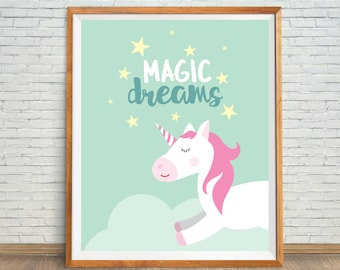 Mint Unicorn, Mint Unicorn Art, Mint Nursery Decor, Mint Wall Art, Mint Unicorn Print, Mint Sleeping Unicorn, Mint Printable