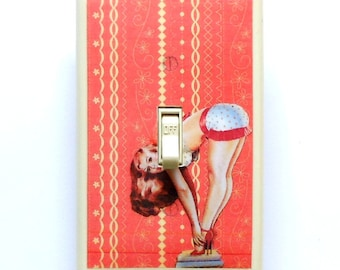 Cute Pin up Switchplates w/ MATCHING SCREWS- Funny pin up girl Black & white bathroom art light switch cover exercise aqua gag switch plates