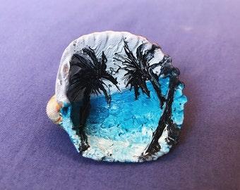 West Coast Palm Trees (hand painted sea shell)