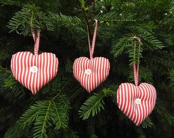 Christmas Tree Decoration, Christmas Tree Hanging Decoration.  Hanging Hearts - Set of 3. Handmade
