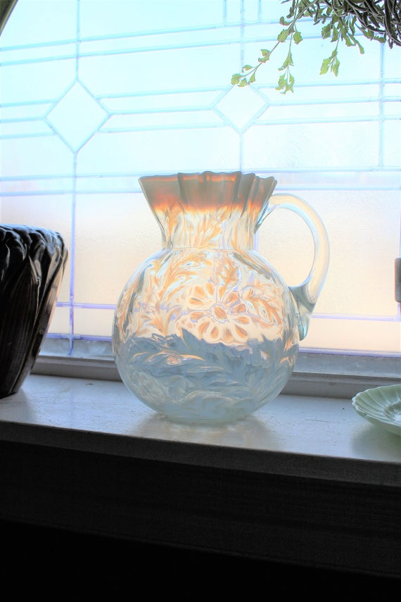 Large Antique Pitcher Northwood Glass White Opalescent Daisy and Fern