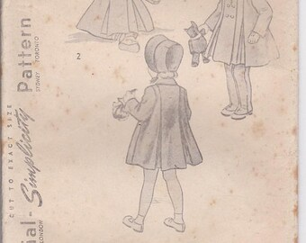ON SALE 1950's Sewing Pattern - Simplicity 2953 Childs Coat, Bonnet and Leggings Size 2  Factory Folded, Complete