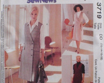 Easy Jumper and Shirt Sewing Pattern For Misses and Misses Petite - Sew News for McCall's 3719 - Sizes 12-14-16-18 Bust 34 - 40, Uncut