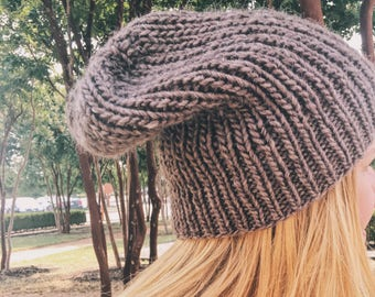 Soft Brown Slouchy Beanie- Wood & Mohair