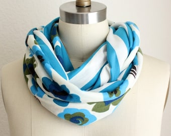 Reversible Blue Stripes and Floral Infinity Scarf