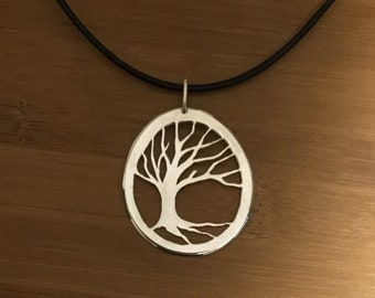 Blowin In the Wind Sterling Silver Tree of Life Necklace