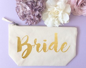 Brides gold makeup bag- Cosmetic bag- Unique gift- Toiletry bag- Cosmetic bag- Rustic wedding- Hen Party- Engagement gift- Wedding gift