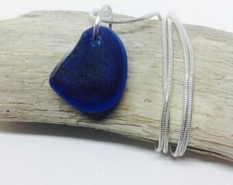Blue Sea Glass Pendant, Seaglass Necklace, Blue Seaglass, Seaglass Jewelry, Seaglass, 18th Birthday, Gift, Present, 1st Anniversary