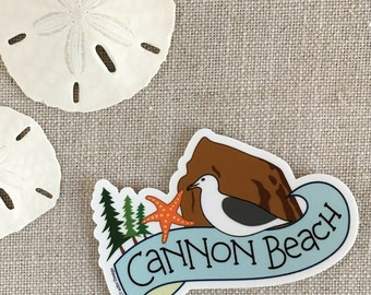 Cannon Beach Vinyl Sticker / Haystack Rock Sticker / Laptop Sticker / Oregon Coast Sticker / Cool Oregon Sticker / Waterproof Sticker