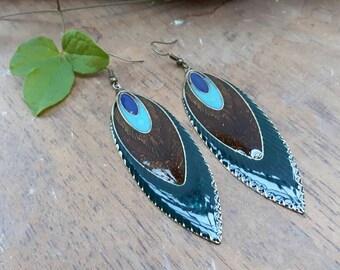 Enamel feather earring