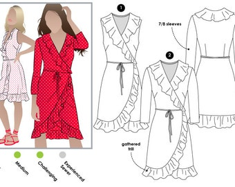 Giselle Dress - Sizes 10, 12, 14 - PDF women's dress sewing pattern by Style Arc