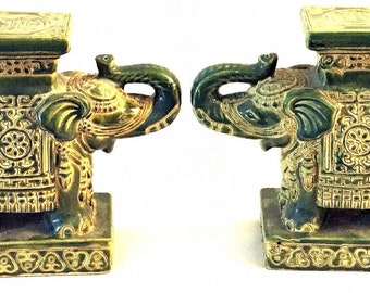 Old Pair of Vintage  Green Porcelain Elephant Candle or Plant Stands