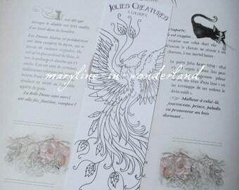 coloring bookmark coloring Phoenix Bird
