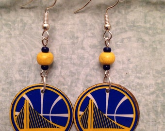 Upcycled Golden State Warriors Earrings, recycled Anchor Brewing California Lager cardboard box decoupage earrings