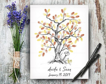 Custom Hand Drawn Fingerprint Guestbook Tree, Wedding Tree, Alternative Wedding Guest Book, Wedding Keepsake, Calligraphy Hand Lettered Font