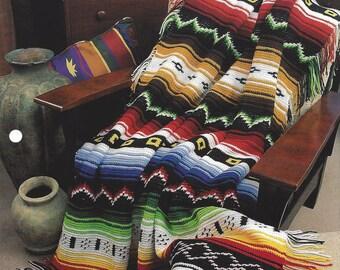 Indian Blanket Crochet Pattern,  Indian Southwest Quilt Blanket Afghan Bedspread, Home Decor, Bedding Throw, Annie's Crochet Quilt & Afghan