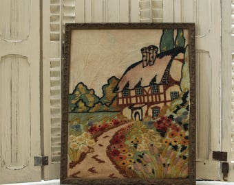 SALE--Antique Cottage Crewel, Extra Large English Tudor Lush with Gardens and Trees,Vintage English Cottage Crewel Embroidery,
