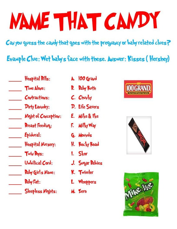Name That Candy Baby Shower Game Can Be Used For Any Themed